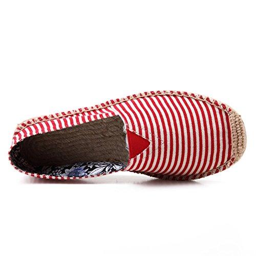 Insun Mixte Adulte Espadrilles en Toile Cousue Main Chaussure de Marche Corde Tressée Rouge 4 6hVa8bmac
