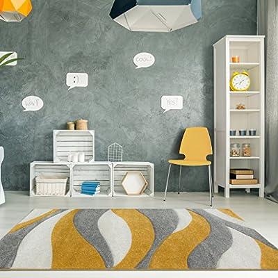 The Rug House Tapis de Salon Ocre, Jaune moutard et Or, Motif Vagues  ondulées, 120cm x 170cm