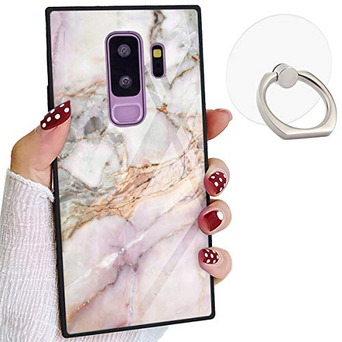 Square Elegant Case Compatible Samsung Galaxy S9 Plus Marble Chic Stylish Samsung S9 Plus Cover Shockproof Protective