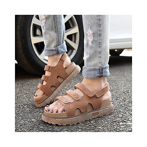 OCHENTA Romana sandalias de plataforma zapatos del estudiante de velcro yardas grandes #04 Caqui