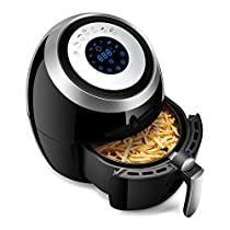 Air Fryer with Digital Display Adjustable Temperature, Multi-Function 3.6L Large Electric Air Fryer Oiless Fryer-Double Pot Design, Smart Touch Screen Can Set The Time