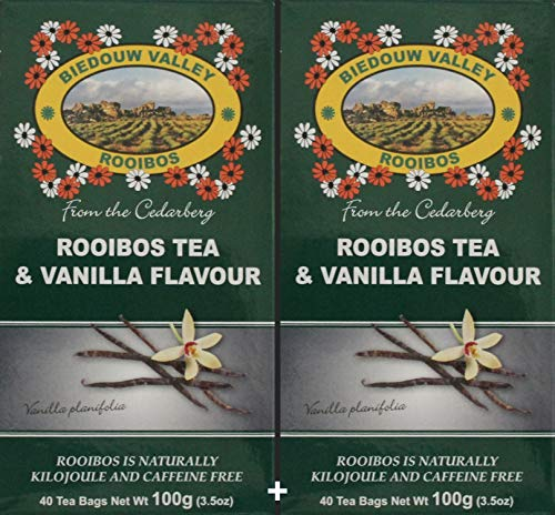 Rooibos & Vanilla (5%) Tea: 100% Natural South African (80 Tagless Oxygen Bleached Bags). Caffeine & Calorie Free, Antioxidant & Mineral Rich. By Biedouw Valley