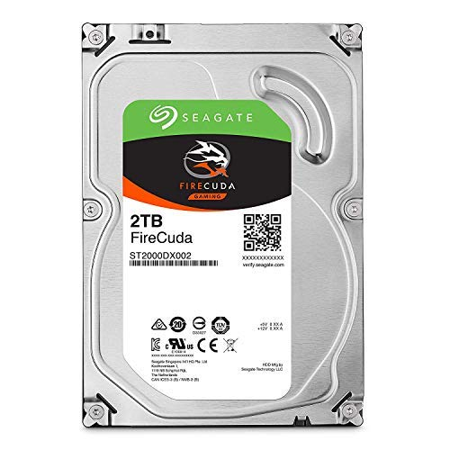 Seagate FireCuda 2TB Solid State Hybrid Drive Performance SSHD - 3.5 Inch SATA 6Gb/s Flash Accelerated for Gaming PC Desktop Frustration Free Packaging (ST2000DX002)