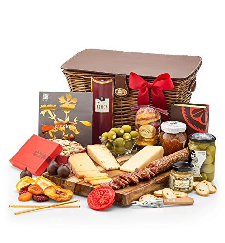 GiftTree Cheese & Charcuterie Gift Basket | Includes Cheeses, Stuffed Olives, Uncured Salami, Spreads & Crackers | Reusable Keepsake Picnic Hamper | Perfect Gift for Birthdays, Get Well, & Holidays by GiftTree (Image #9)