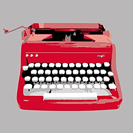 Typewriter Red Needlepoint Kit, 12 Square, Canvas Only Kit. 12 Square The Modern Stitch Co.