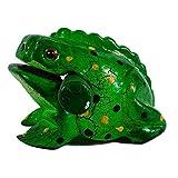 Pro Percussion Medium Wood Frog Guiro, Rasp, Tone Block, Green Spatter Finish, Musical Instrument, Drum Circle Accessory