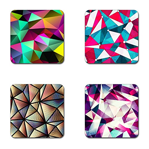 (triangles geometric coasters- 4 inch diameter-Square - neoprene coasters- Eco-Friendly, Made From 100% Recycled Rubber(Set of 4 ))