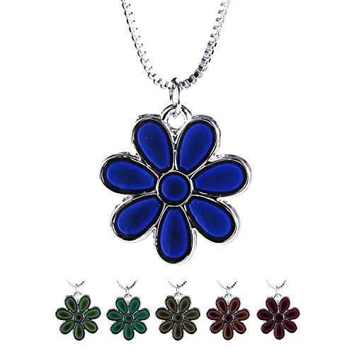 Rinhoo White Gold Plated Flower Mood Color Change Necklace Pendant(Flower) (White Gold Plated Pendant)