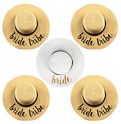 H-2017-5-BWG.4BT Embroidered Sun Hat Bundle - Bride (White/Gold) 4 Bride Tribe by Funky Junque