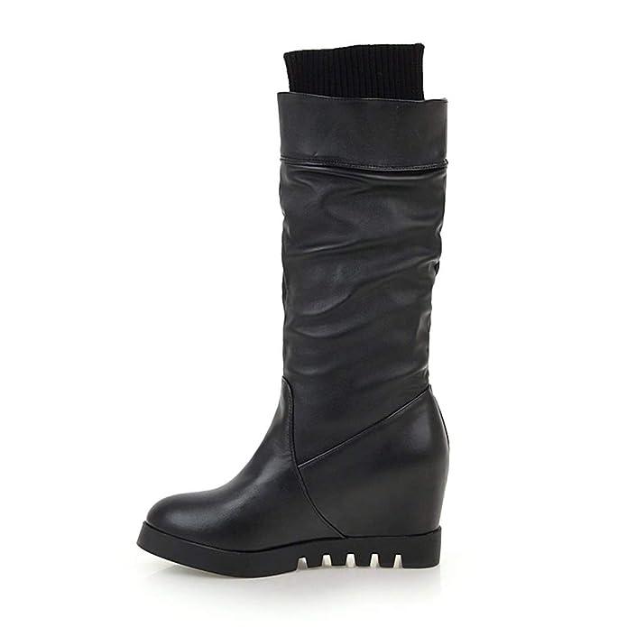 6e80f53ab5 UH Damen Kniehohe Stiefel mit Keilabsatz Strick Langschaftstiefel Wedges  mit Strass Modisch Schuhe: Amazon.de: Schuhe & Handtaschen