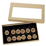 12 Piece Set of Wine Glass Charms - Natural Cork Funny Design