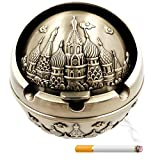 Tripolar Portable Cigarette Cigar Ashtray with Lid Antique Sophisticated Engraved Embossing Europe Wind-proof Art Decorative Ash Tray Holder Table Home Bar Decor for Men Smokers,Castle/Bronze