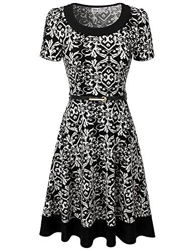 Doublju Women Aztec Print Shift Dress TRIBALWHITE Midi Flare Dress with Belt,S