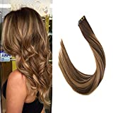 VeSunny 20inch Tape in Remy Hair Extensions Color #4 Chocolate Brown Fading to #27 Caramel Blonde Mixed #4 Brown Skin Weft Hair Extensions Seamless 20pc 50Gram Per Pack