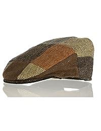 Vintage Tweed Childrens Patch Cap (Small, Dark Brown)
