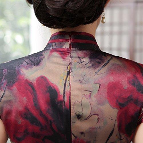 Chinesisch Blumendruck Stehkragen A Stil ACVIP Qipao Damen Abendkleid Lang Cheongsam C4Rqf