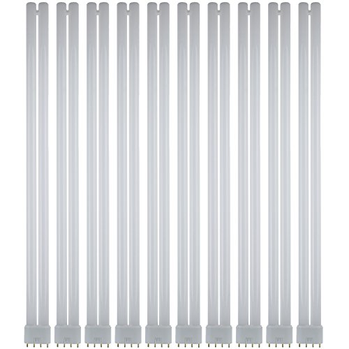 Sunlite FT40DL/841/RS/10PK FT 40W 22 Inch/1.8 Foot Twin Tube Fluorescent Ceiling Light Fixtures, 4-Pin (2G11) Base, 4100K Cool White, 10 Pack, 4100K-Cool