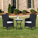 Webb 2 Seater Bistro Set with Cushions - This Rattan Bistro Set, including 2 chairs and a matching table, is perfect for dining or drinking in the fresh air. (Black)