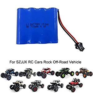 SZJJX RC Car Rechargeable Battery AA 4.8V 700mAh High Capacity Battery Pack for SZJJX RC Rock Off-Road Vehicle 2.4Ghz 4WD High Speed 1:18 Racing Cars