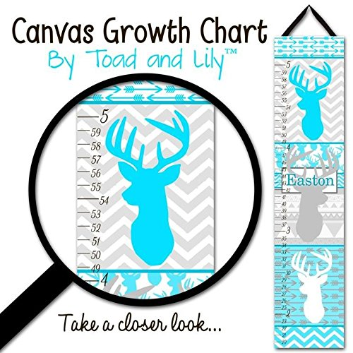 Blue Personalized Canvas (Canvas GROWTH CHART turquoise Blue Deer Head Silhouette Chevrons Arrows Boys Bedroom Kids Baby Nursery Wall Art Personalized GC0123)