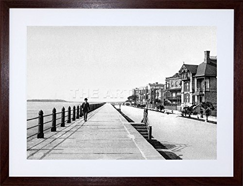 9x7 '' East Battery Parade Charleston 1900 Old BW Photo Framed Art Print - Photo Old 1900