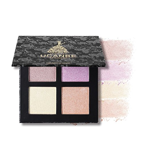 4 Color Highlighter Makeup Palette Illuminating Bronzers Contour Powder Kit (Square # 1)