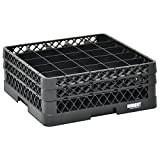 Vollrath Traex Black Plastic 25 Compartment Dishwashing Rack With Two Open Extenders - 19 3/4 L x 19 3/4 W x 7 1/8 H