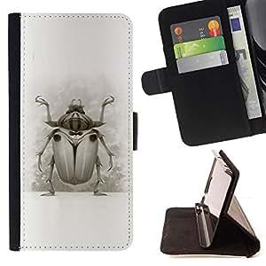 BullDog Case - FOR/Apple Iphone 6 PLUS 5.5 / - / BUG BEETLE DRAWING WINGS NATURE LEGS ART /- Monedero de cuero de la PU Llevar cubierta de la caja con el ID Credit Card Slots Flip funda de cuer
