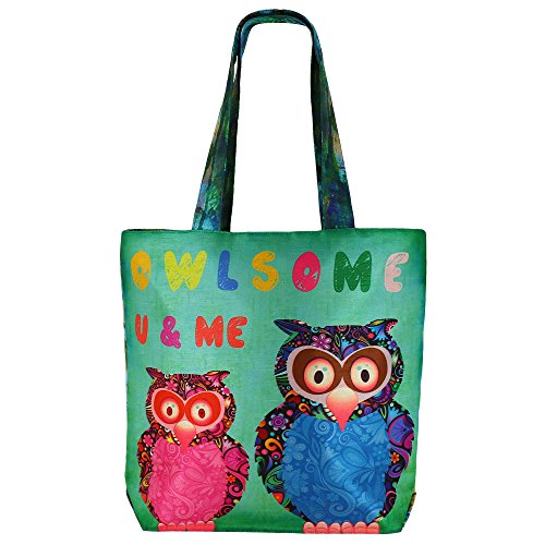 Digital stampato multiuso Moda Shopping Bag - Colorful Owls Faux seta Tote Bag con Polysatin Fodera