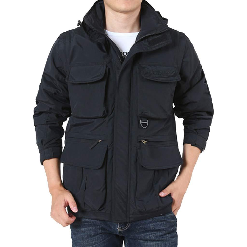 LUKALUKADA Men's Detachable Sleeve Hooded Outdoor Plus Velvet Mountaineering Sportswear Solid Zipper Pockets Coat Black by LUKALUKADA-Mens Coat