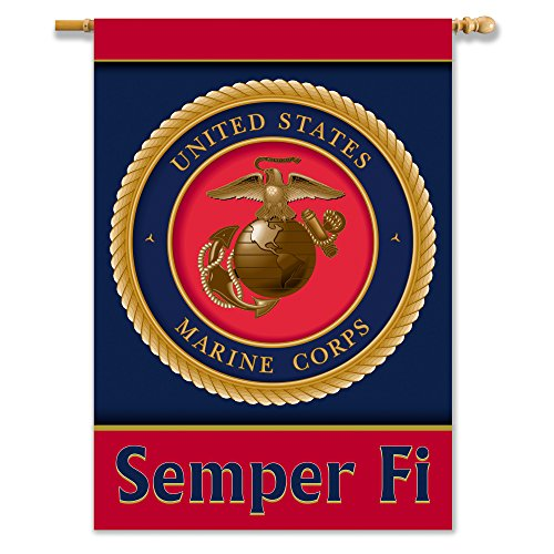 [US Marine Corps 2-Sided Banner with Pole Sleeve, 28