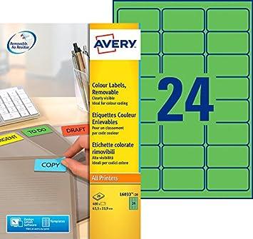 - 63,5x46,6mm L6025REV Avery 450 Etiquettes Autocollantes Amovibles 18 par Feuille Impression Laser Blanc