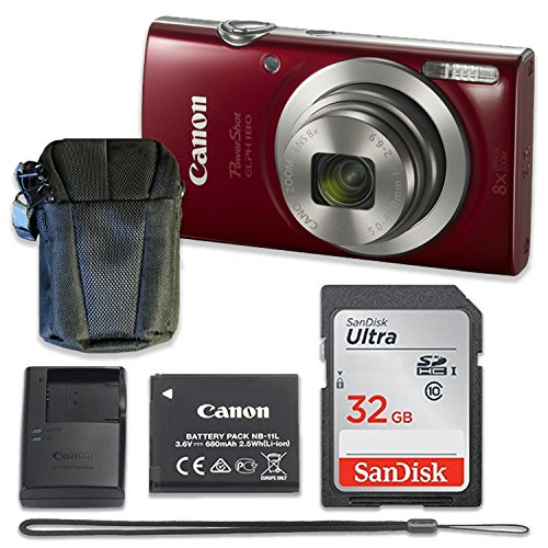 Canon PowerShot ELPH 180 Digital Camera (Red) with 32GB Memory + Case