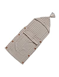 Dorapocket Newborn Knit Hooded Sleeping Bag Sack Baby Wrap Swaddle Blanket,Beige