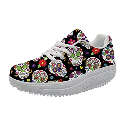 (FOR U DESIGNS Breathable Trail Running Shoes Cartoon Suger Skull Women's Platform Sneaker Shaping Legs US)