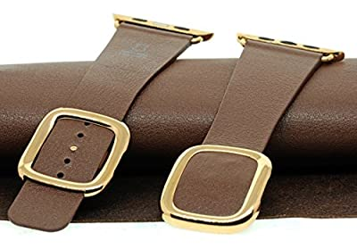 JSGJMY Smart Watch Band 42mm Leather Bracelet Replacement Strap for Smart Watch Sport & Edition (Brown+Gold Buckle,42mm M)