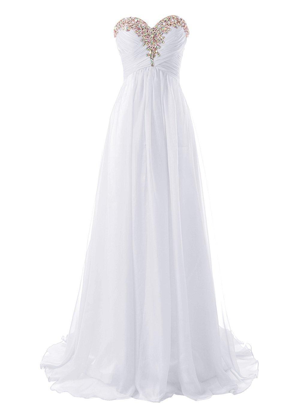 Snowskite Sweetheart Long Beaded Chiffon Bridesmaid Dress Evening Dress White 4