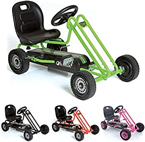 Hauck Lightning - Childrens Pedal Go-Kart, Ride-On Car for Boys & Girls with Ergonomic Adjustable Seat & Sharp Handling - Race Green