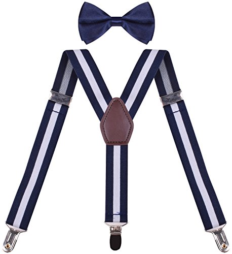 (ORSKY Juniors Suspender with Bow Tie Set Adjustable Elastic White Striped)