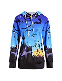 Halloween Long Sleeve Jumper Tops, Women Hoodie Sweatshirt Hooded Pullover Blous