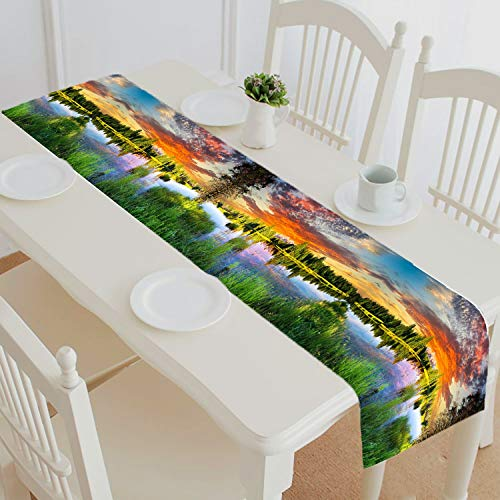 HandsToMeB Custom City Street Table Runner, Colorful House Table Runner Table Cloth Linen & Cotton Cloth Placemat Home Decor 16x72 inch ()
