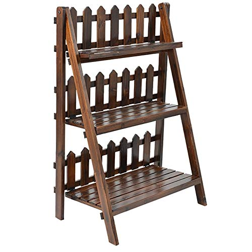 XJZxX-Plant Flower Stand Carbonization Antiseptic Bamboo Wood Ladder Plant Stand 3 Tier Foldable Flower Display Shelf…