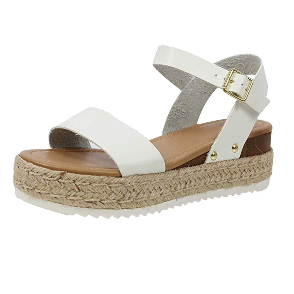Tantisy ♣↭♣ Sandals for Women Womens Casual Straw Rubber Sole Studded Wedge Buckle Ankle Strap Open Toe Med Heel Shoes White