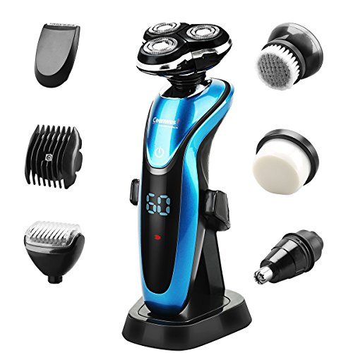 CEENWES Electric Razor Waterproof Electric Shaver Men's Beard Trimmer Rechargeable Portable Cordless Rotary Shavers