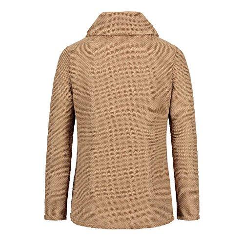 Cardigan Casual Ourlet Cou Gilet Tricotées 1 Coupe Automne Sweater Fasion Veste Manteau Femme Kaki Robemon✬pulls Hiver Haut EHzBxqww