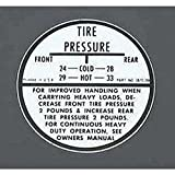 Eckler's Premier Quality Products 40169378 Full Size Chevy Tire Inflation Glove Box Decal