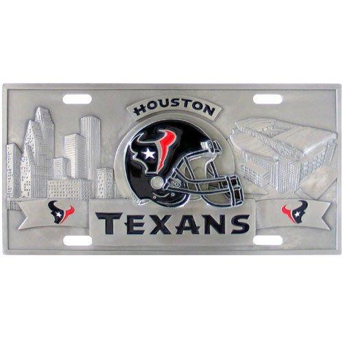 Nfl Stainless License Plate - Houston Texans - 3D NFL Stainless Steel License Plate