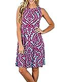 Buauty Womens Floral Print Casual Sleeveless Tank Dress