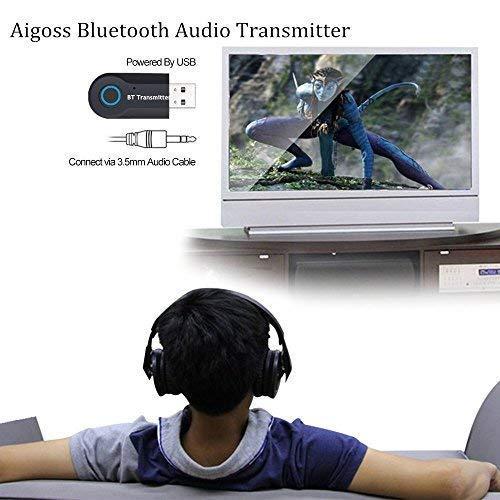Aigoss Transmisor Bluetooth USB Adaptador de Audio Inal/ámbrico 3.5mm para TV//Ordenador// Auriculares//Altavoz Baja Latencia,Conexi/ón Dual de Salida Est/éreo