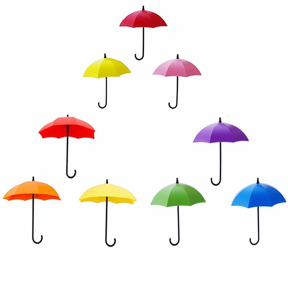 ORYOUGO Key Holder Key Hanger Wall Key Set of 9 Colorful Umbrella Wall Rack, Ideal for Hallways, Kitchens & Bathrooms - Self-Stick for Easy Installation,Red, Orange, Yellow, Blue, Green,Pink & Purple